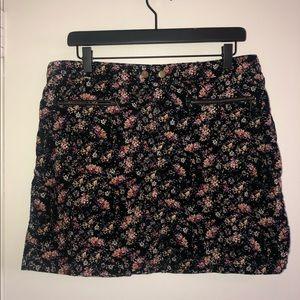 Floral Print Corduroy Skirt